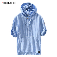 2018 New Hoodies Sweatshirts Men summer 55%Linen Blue Striped Hooded short Sleeve fashion flax Streetwear Hoodies for Men 766