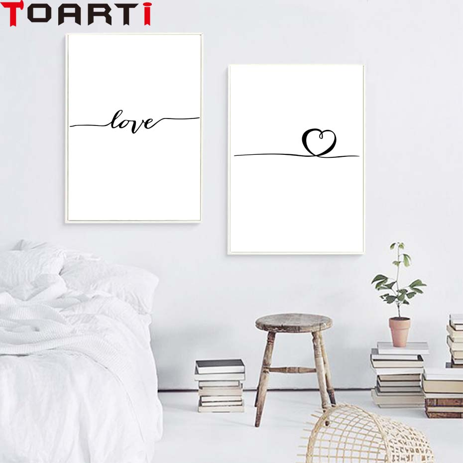 Nordic Poster Heart Picture Black White Canvas Prints Love Poster Wall Art Canvas Painting Heart Posters And Prints (7)