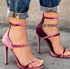 ФОТО elegant temperament wine red velvet shoes women open toe buckle strap cover heel sandals super thin high heel footwear