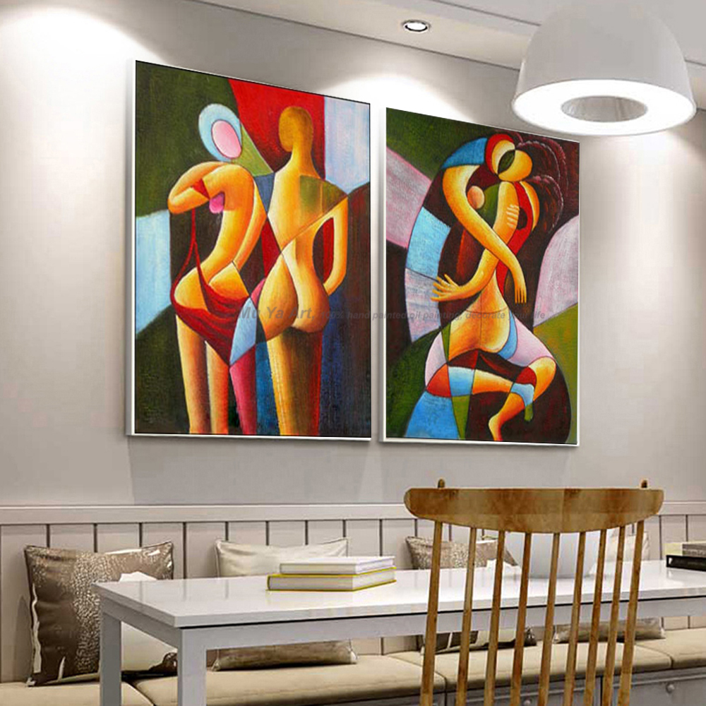 2 piece nude painting sexy painting abstract modern canvas wall art decor handmade oil painting on canvas pictures living room