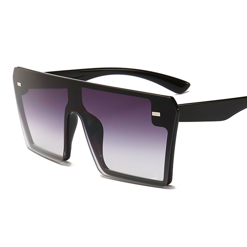Oversized Square Sunglasses Women 2021 Luxury Brand Fashion Flat Top Red Black Clear Lens One Piece Men Gafas Shade Mirror UV400 8
