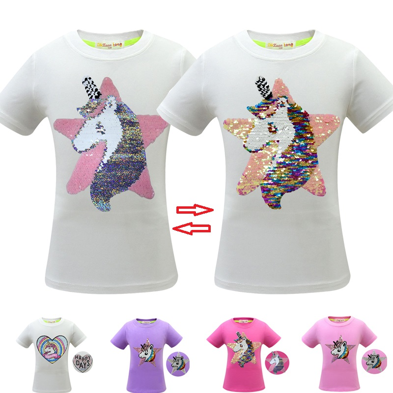 T-Shirt Kids Tops Unicorn Glitter Sequins Flip Color-Change Girl Double-Sided Children