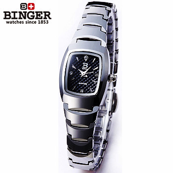 Promote Brand steel top quality quartz watches Binger new black dial Square watch women waterproof original