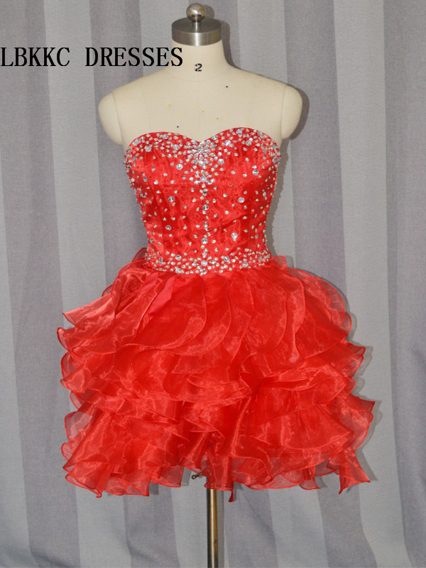 Red   Cocktail     Dresses   Knee Length Organza Ruffles With Beaded Short Prom   Dress   Elegant
