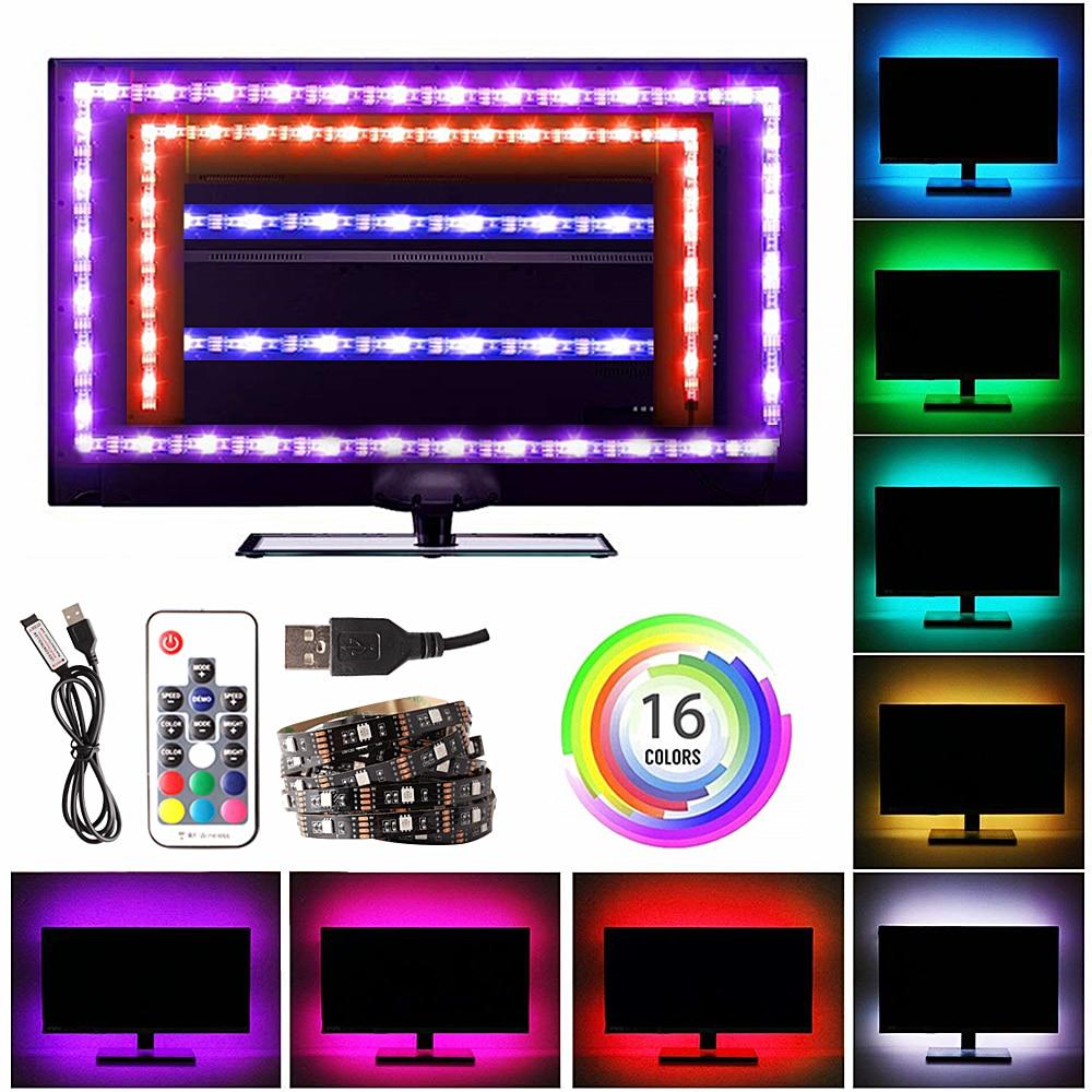 RGB Ribbon USB LED Strip Light 5050 USB Tira Fita LED Light DC 5V Flexible Neon RGB Tape TV Backlight Background Lighting Remote(China)