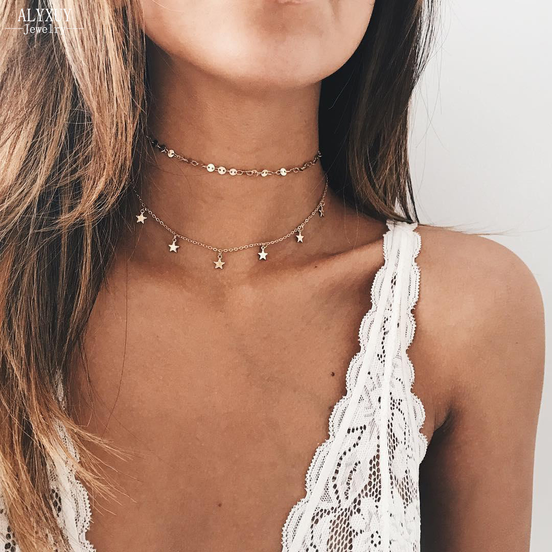 New fashion round bead chain with star necklace set women girl jewelry N0035