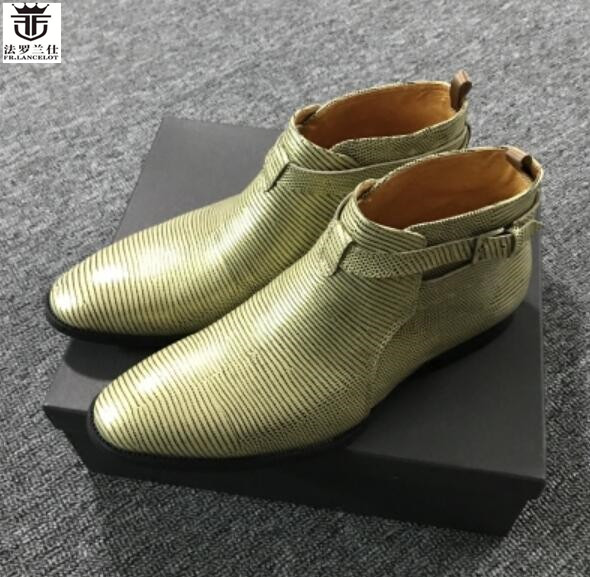 2018 FR.LANCELOT top men designer ankle boots genuine leather brand men winter boots slip on chelsea boots luxury brand shoes men s chelsea boots luxury brand full genuine leather ankle boot men quality slip on shoes zapatos hombre size 39 44 la2502m