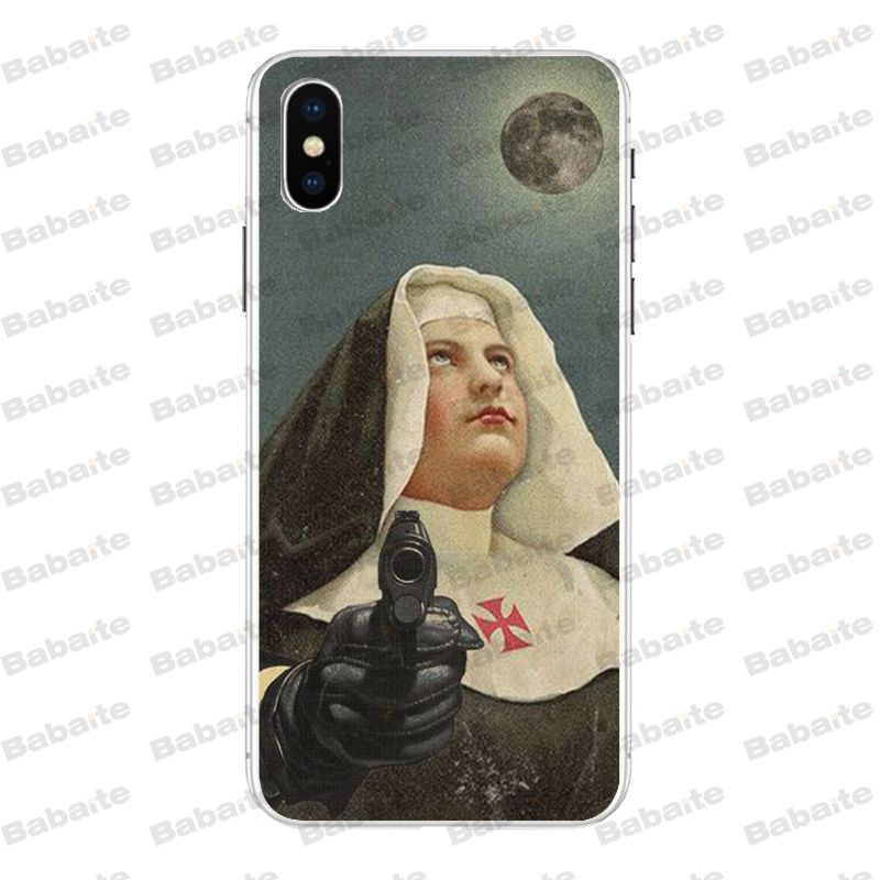 Yinuoda Sister Nun Novelty Fundas Phone Case For Iphone 8 7 6 6s Plus X Xs Max 5 5s Se Xr 10 Cover Half-wrapped Case