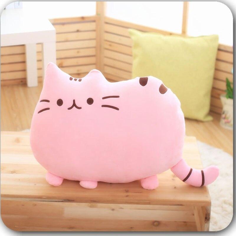25cm Plush Doll Cat Back Cushion Lumbar Decorative Throw Pillow Smiley Face Seat Cushion Stuffed  Kids Room Decoration C
