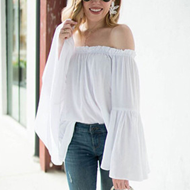bade1d6fcedc8c 2017 Fashion New Design Women Solid Lady Ruffles Frilly Off The Shoulder  Tops Casual Summer Beach Seaside Long Sleeve T-shirt