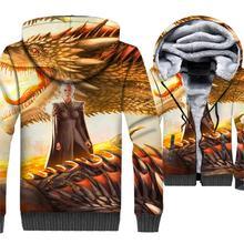 3D Dragon Jackets Male 2018 Autumn Winter Zip Coat Game Of Thrones Hoodies For Men Targaryen Fire And Blood Harajuku Sweatshirt