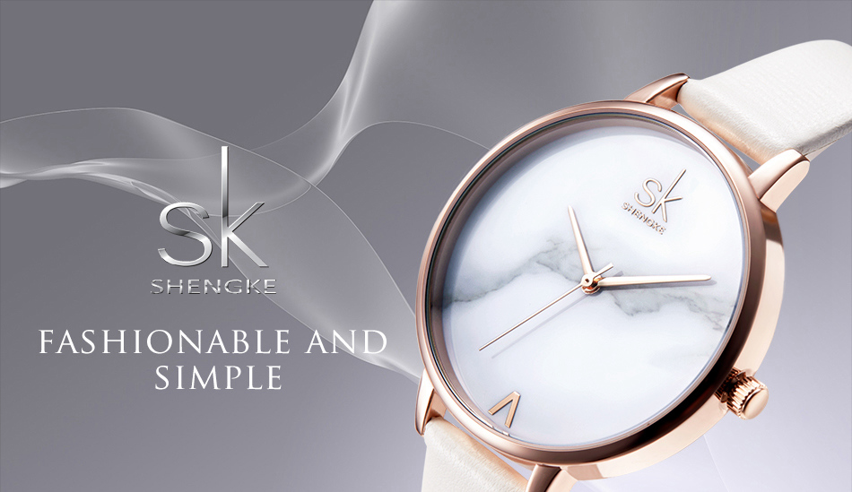 Shengke Top Brand Fashion Ladies Watches Leather Female Quartz Watch Women Thin Casual Strap Watch Reloj Mujer Marble Dial SK 19