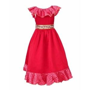 Image 4 - Robe daventure Elena pour filles, Costume Cosplay, sans manches, robe de luxe rouge pour enfants, Halloween fantaisie