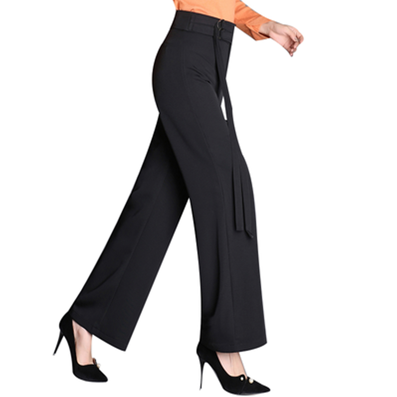 New 2019 Summer Plus Size 4XL Ladies   Wide     Leg     Pants   European Style Black Color Female Capris Sashes High Straight Trousers