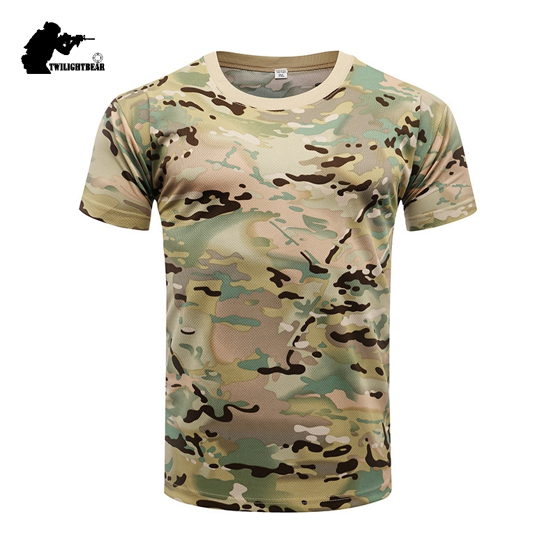 Military Camouflage Tactical T Shirt Men Women Outdoor Short Sleeve Quick Drying Mesh Combat Shirt Training Clothing 3XL  BJ010