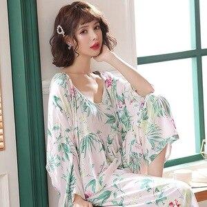 Image 2 - Nieuwe Lente Herfst Bloem Pyjama Femme Katoen Warm Pijamas Mujer Kleding Lange Mouwen Zachte 3 Delige Set Pyjama Voor Vrouwen homewear