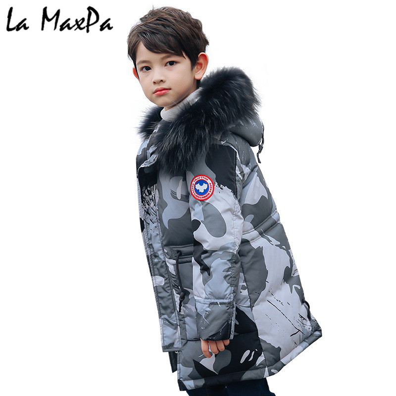 -30 Degrees Boys Winter Russia Thickening Warm Down Jackets Coats Children Long Section Knees Fur Collar Hooded Jacket Boy Down boys girls down jacket long section children winter thickening outerwer 80