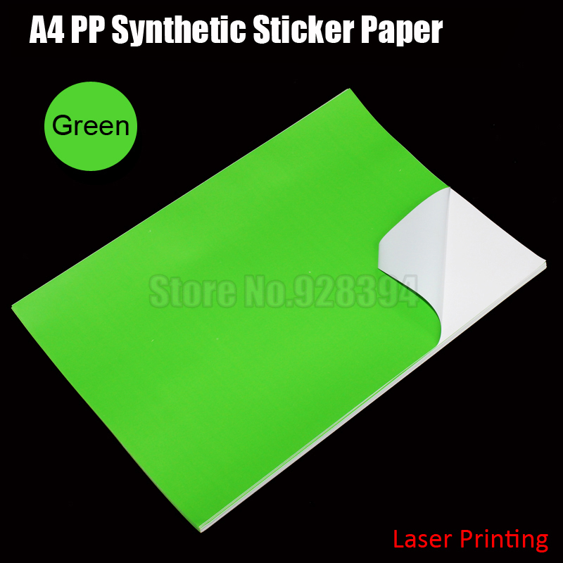 30sheets green a4 pp synthetic paper adhesive sticker