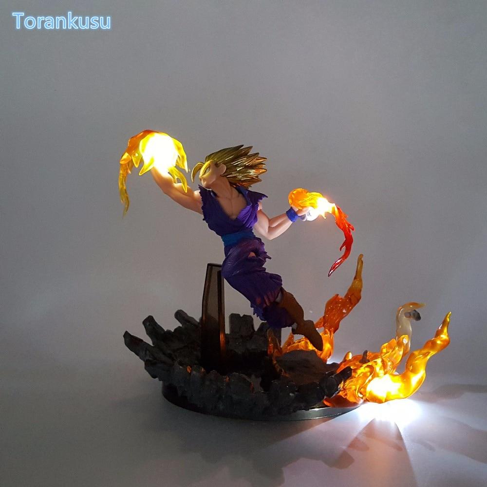 Dragon Ball Z Action Figure Son Gohan Fire Fist Led Light DIY Display Toy Esferas Del Dragon Toy Super Saiyan DBZ+Light DIY83