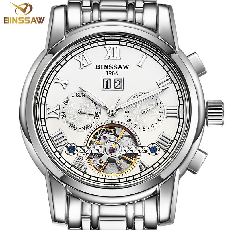 BINSSAW Men Automatic Mechanical Watches Luxury Brand Fashion Tourbillon Stainless Steel Business Sports Watch Relogio Masculino