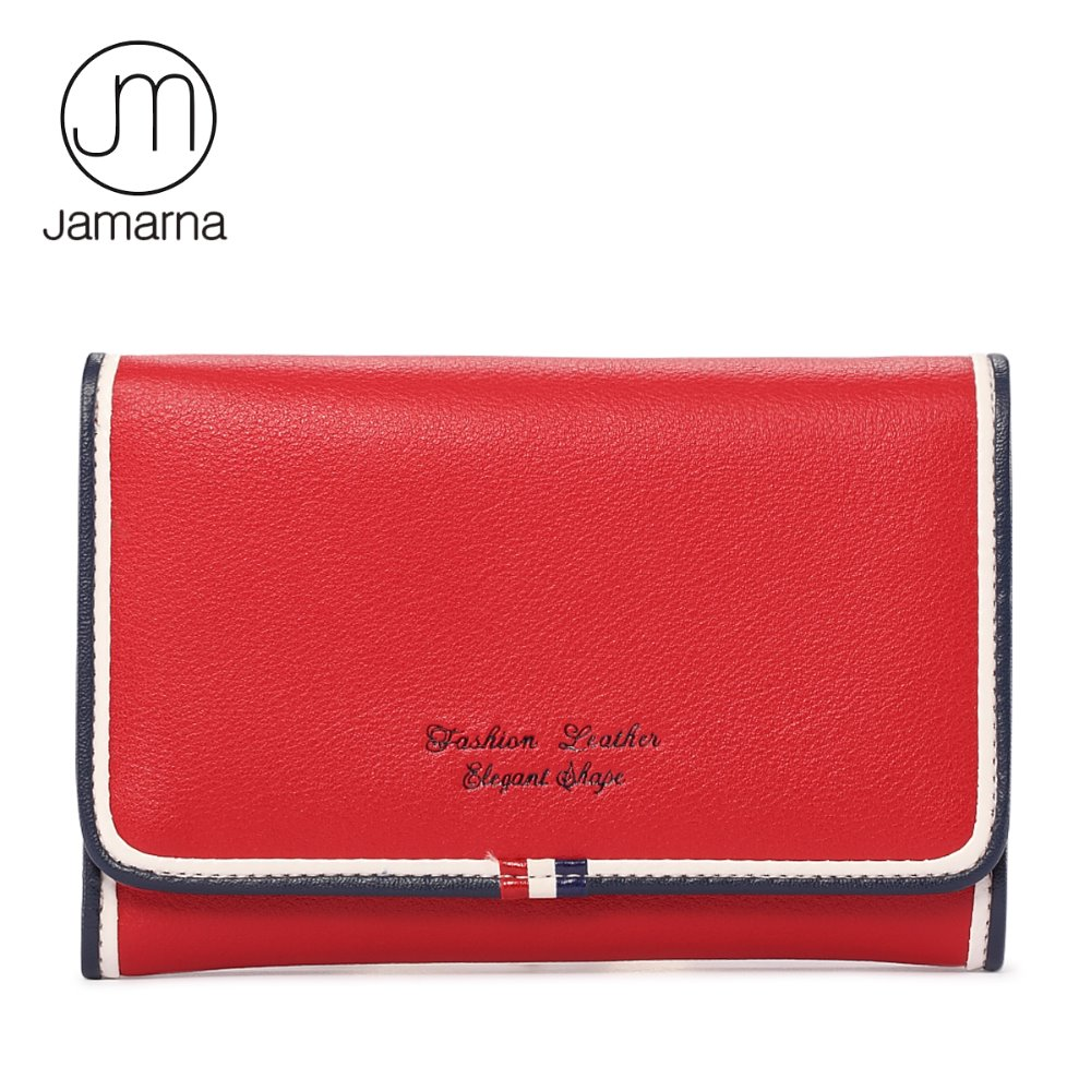 Jamarna New Genuine Leather Women Wallets Small Purse Card Holder Short Red White Blue Design Coin Bag Small Wallet Female simline fashion genuine leather real cowhide women lady short slim wallet wallets purse card holder zipper coin pocket ladies