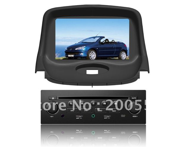 "7"" in dash car DVD GPS navigation for Peugeot 206 with Digital TV DVB-T BT RDS PIP IPOD SWC 3G USB Host"