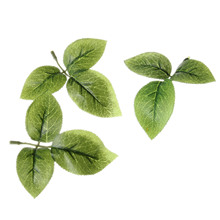 10pcs Green Artificia Rosel Leaf Decorative Plastic Branch Silk and Rubber Material Shaped Wedding Home Decoration