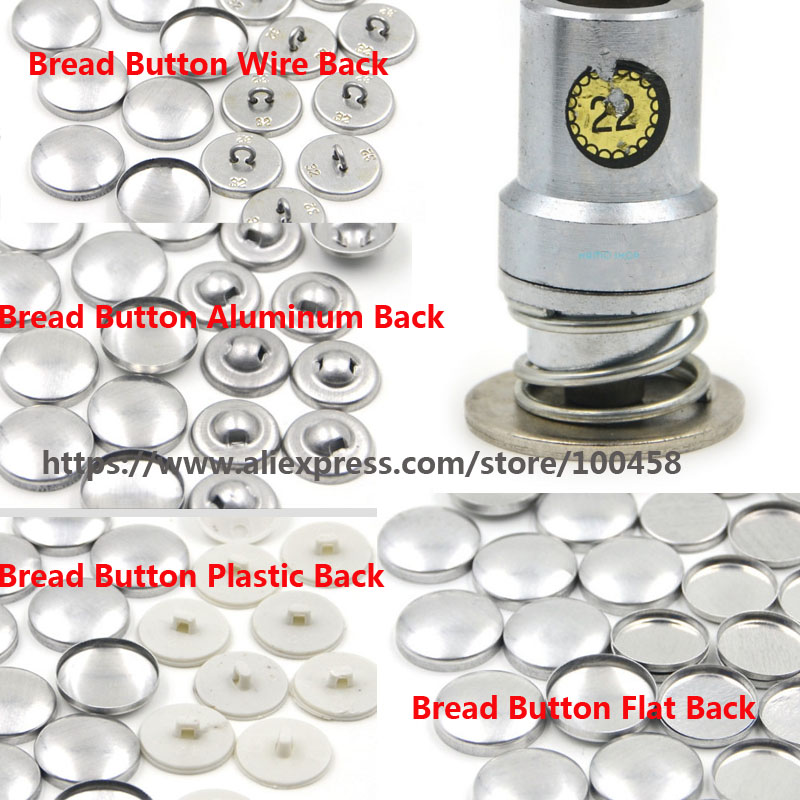22#1.3cm Round Fabric Covered Button Component with Die Tool Metal Bread Top Flat Plastic Ring/Aluminum Back DIY Handmade Button