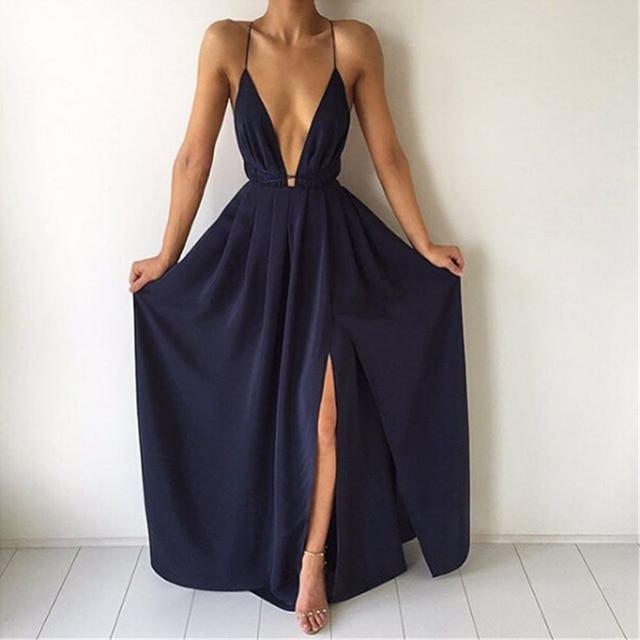 Summer Maxi Dress Women Solid Sexy Deep V-Neck Sleeveless Spaghetti Strap Backless High Split Long Sundress Vestidos