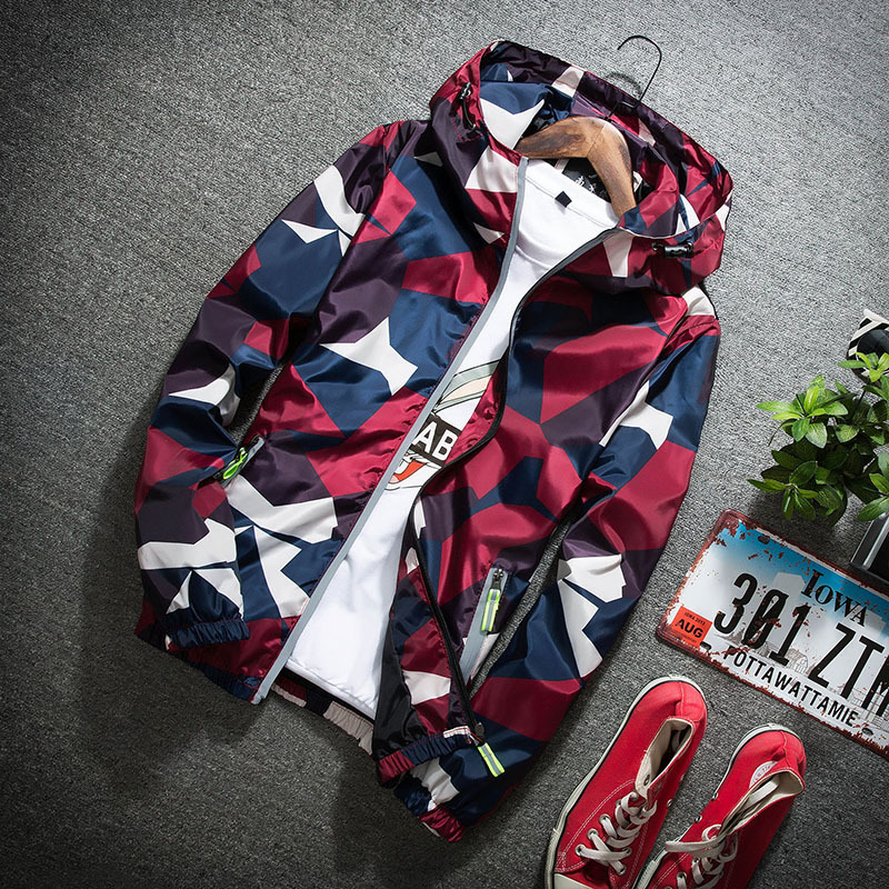 2019 New Autumn Males Bomber Jackets Informal Skinny Hooded 3M Reflective Summer time Camouflage Jacket Males Plus Measurement S-4Xl