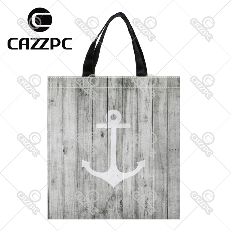 Vintage White Nautical Anchor on Gray Wood Print Custom Oxford Nylon Fabric Shopping Storage Grocery bag Pack of 2
