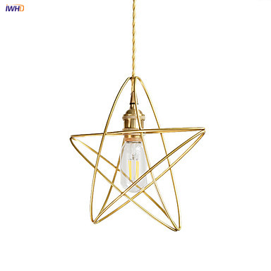 IWHD Gold Star Nordic Pendant Lamp Dinning Living Room Lights Modern Copper Hanging Light Hanglamp Pendente Lampara Colgante