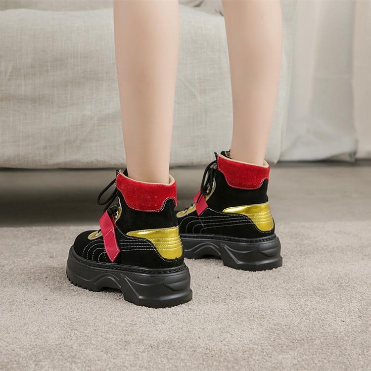 Femmes Plat Plate Sneakers Lmcavasun Sneaker Hiver Mode De Chunky Or Épaisse rouge forme Dames En Chaussures Véritable Chaud Cuir Semelle Papa l3u1cTFKJ