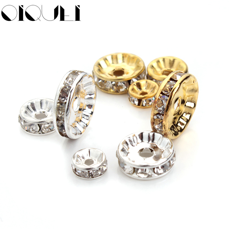 OIQUEI 6mm 8mm 10mm 50pcs Gold Sliver Color Crystal Rhinestone Rondelles Loose Spacer Beads For DIY Jewelry Making Accessories