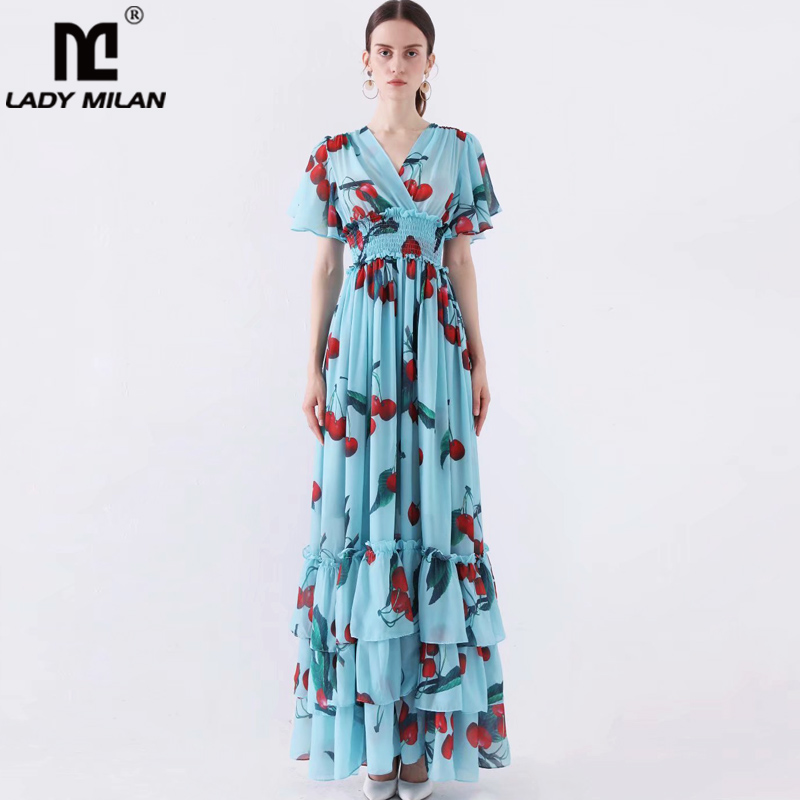 Women s Runway Designer Dresses V Neck Flare Sleeves Floral Printed Ruffles Casual Holiday Long Dresses
