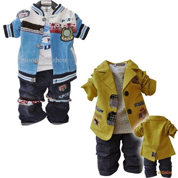 2016 мальчиков из трех частей свободного покроя комплект одежды куртка + ковбой брюки + с длинными рукавами футболка мальчики из трех частей костюм дети комплект