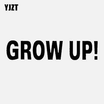 YJZT 15.5CM*3CM GROW UP ! Fashion Reflective Car Sticker Decal Black Silver Vinyl C11-1842 image