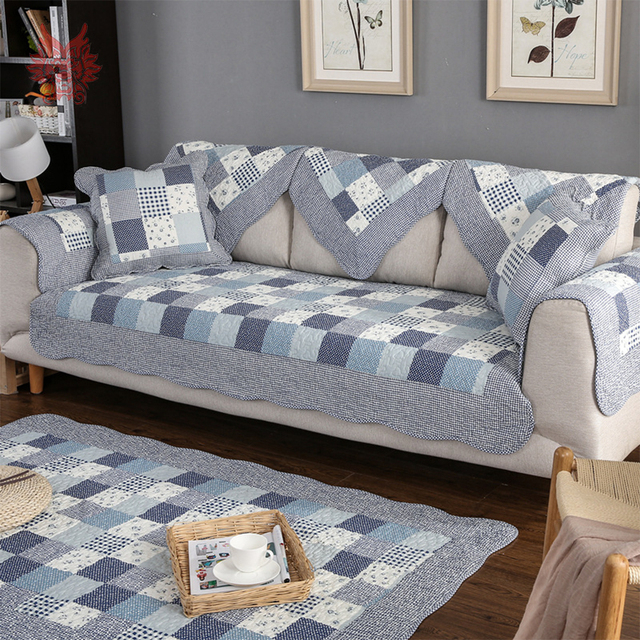 Past Plaid Fl Print Cotton Sofa Cover Quilted Slipcovers For Livingroom Canape Furniture Fundas De