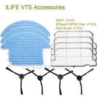 Original ILIFE V7S Robot Vacuum Cleaner Parts Side Brush 4 Pcs Efficient HEPA Filter 4 Pcs