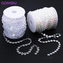 3m 10mm blanco Tranparent Octagonal Beads acrílico decoraciones para boda decoración diamante cristal guirnalda colgando luces cortina