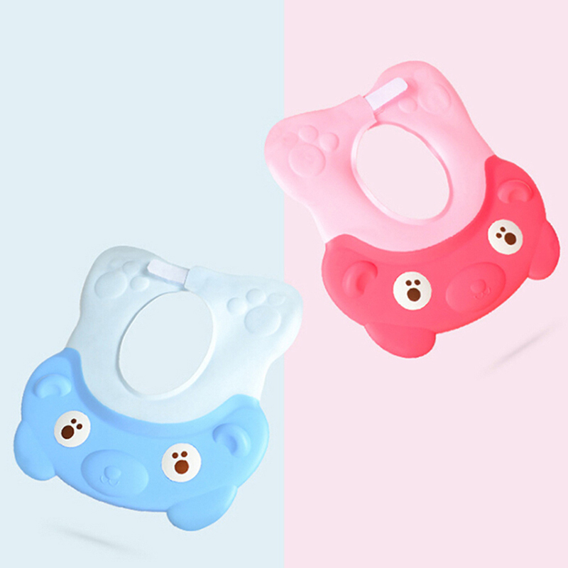 New Arrival Silicone Lovely Bear Adjustable Baby Child Shampoo Bath Shower Cap Hat Toddler Kid Wash Hair Visor Cap For Baby Care