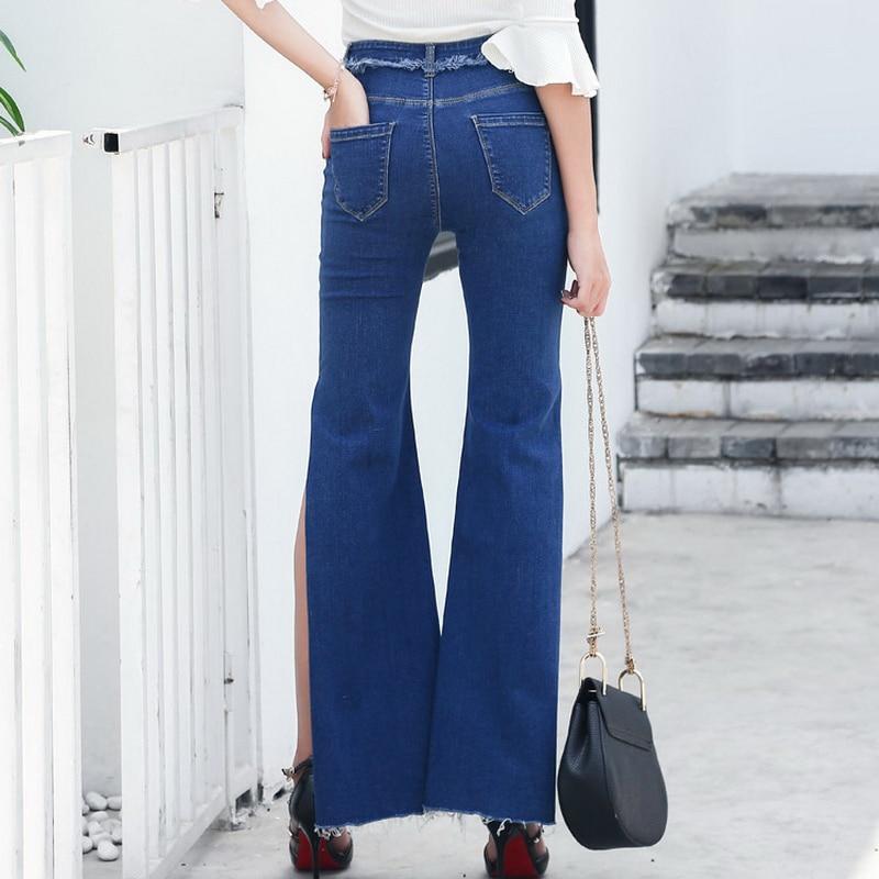 Flaco Split Stretch Nuevo Para Jeans Pantalones Con De Las Casual Femme Borla Cintura Alta 2018 Lados Azul Flare Ambos Vaqueros Mujer Mujeres nYAgHxY4