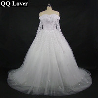 QQ Lover New Boat Neck Wedding Dress With Video With Shawl 2018 Becautiful Flowers Bridal Gown