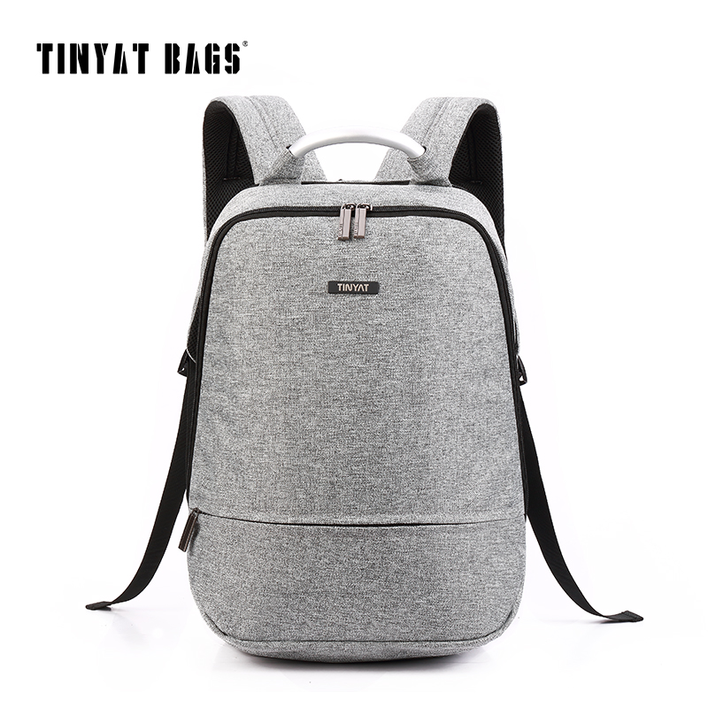 TINYAT Men's Backpack Bag 15/16inch Laptop Canvas School Backpacks For Teenage Students Men Male Computer Backpack mochila T850