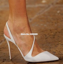 New Spring Summer Stiletto Heels Strappy Sandals Pointed Toe White Pink Patent Leather Dress Pumps Elastic Band Shoes цены онлайн