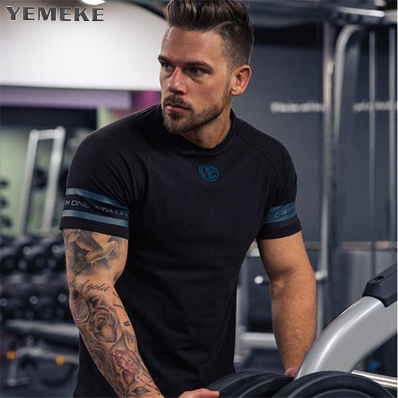 2018 New Cotton   T     Shirt   Men Breathable   T  -  Shirt   Homme Gyms   T     shirt   Men Fitness Summer Printing Gyms Tight Top Black Whit