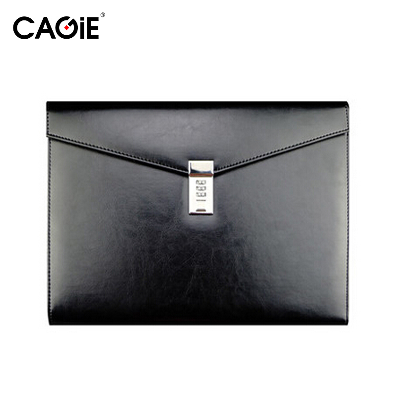 CAGIE Vintage A4 Black Leather Padfolio Men Business Management Contract Password Lock Document Bag Manager File Folder cagie key holder a4 file zipper folder multifunction real estate company office manager folder business padfolio bag