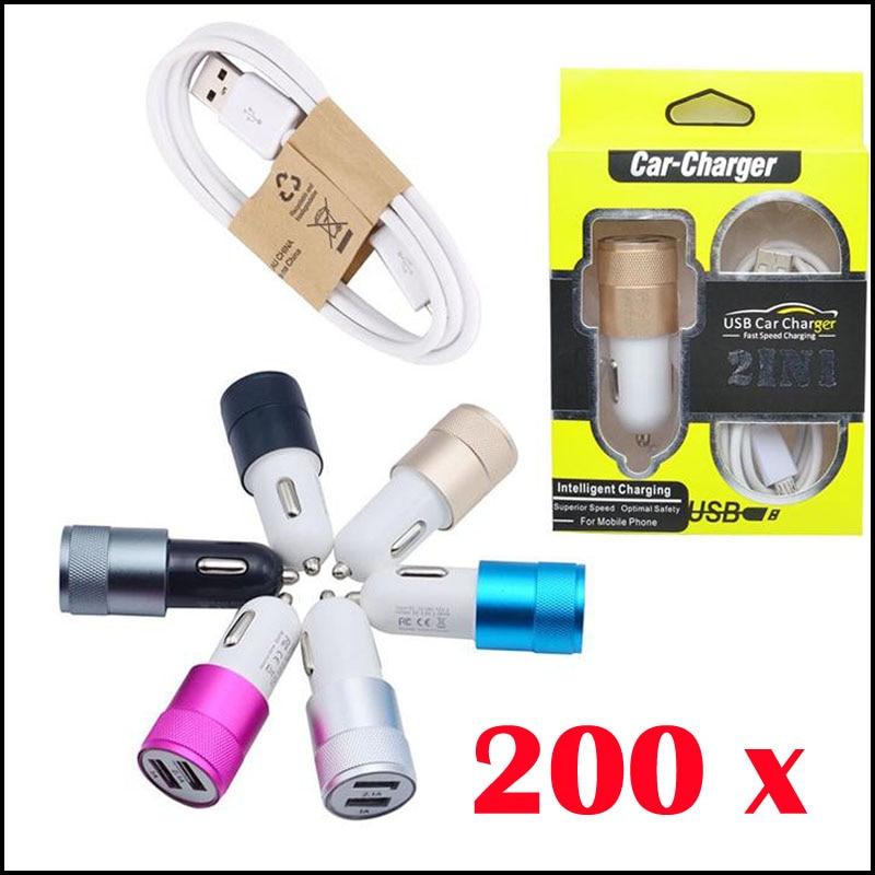 200 шт. автомобиля Зарядное устройство + кабель <font><b>USB</b></font> для зарядки комплект Двойной Порты Металл <font><b>LED</b></font> Мощность Plug адаптер Путешествия телефон Зарядн&#8230;