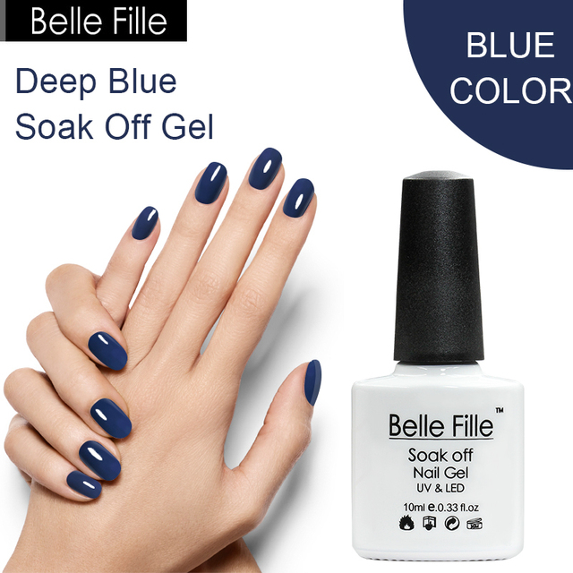 Belle Fille Gel Nail Polish Deep Blue Color Coat Need Top Coat ...