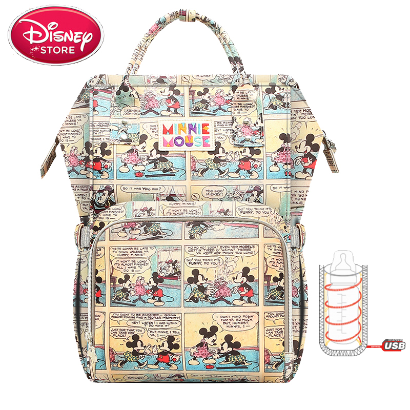 Disney Mickey Minnie Mummy Diaper Bags USB <font><b>Bottle</b></font> Insulation Bag Maternity Nappy Thermal <font><b>Oxford</b></font> Backpack Handbag for Baby Care